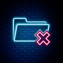 Glowing Neon Line Delete Folder Icon Isolated On Brick Wall Background. Folder With Recycle Bin. Delete Or Error Folder. Close Computer Information Folder. Colorful Outline Concept. Vector.