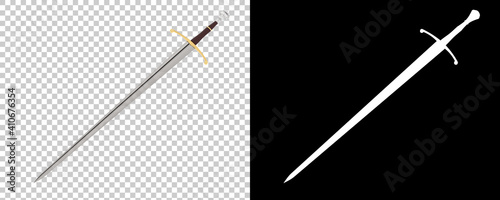 Long sword isolated on background with mask Fototapeta