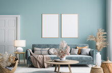 Home Interior Mock-up With Blue Sofa, Wooden Table And Decor In Modern Living Room, 3d Render