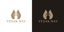 Happy Vesak Day Or Buddha Purnima Logo Design