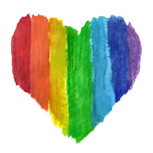 Textile Watercolor LGBTQ Heart, Isolated On White Background. Hand-drawn Rainbow-colored Heart On Fabric