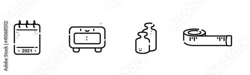 Obraz Symbole für Babykarte, Darstellung der Geburtsdaten: Kalender für Geburtsdatum, Digitaler Wecker für Uhrzeit, zwei Gewichte für Geburtsgewicht und Maßband für die Größe, Platz für eigene Angaben - fototapety do salonu
