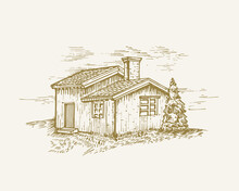 Hand Drawn Rural Buildings Landscape Vector Illustration. Wood Cabin And Pine Tree Sketch. Village Houses Doodle. Isolated