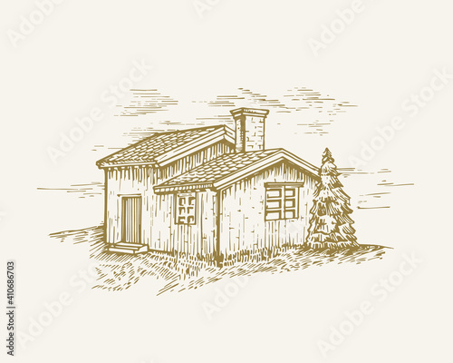 Photo Hand Drawn Rural Buildings Landscape Vector Illustration