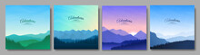 Vector Illustration. A Set Of Mountain Landscapes In A Flat Style. Natural Wallpapers. Geometric Minimalist, Polygonal Concept. Sunrise, Misty Terrain With Slopes, Mountains Near The Forest. Clear Sky