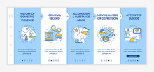 History Of Violence Onboarding Vector Template. Mental Illness And Depression. Criminal Record. Responsive Mobile Website With Icons. Webpage Walkthrough Step Screens. RGB Color Concept