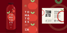 Tomatoes. Flat Vector Illustration. Price Tag, Label, Packaging And Product Poster. Label Design Template On A Bottle. Minimalistic, Modern Label.
