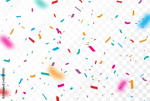 Obraz Happy Birthday Balloons Greeting Card Banner Party Holiday Balloons Sweets Confetti Day Anniversary Firework. - fototapety do salonu