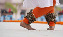 Foot Of An Indian Woman Dancing Kathak On The Stage