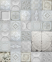 Old Decorative Painted Tin Ceiling Tiles. Seamless Pattern.