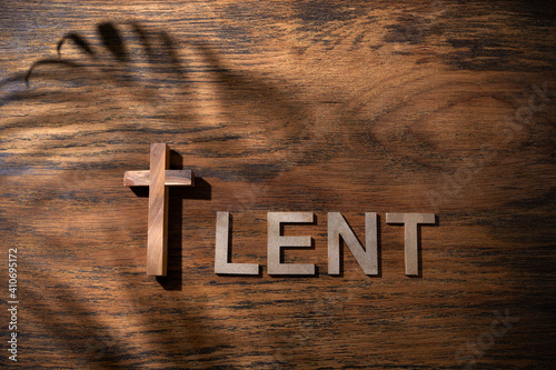 Canvas Print Cross and Lent word as fast and abstinence period concept