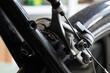 Closeup shot of brake details on a bicycle