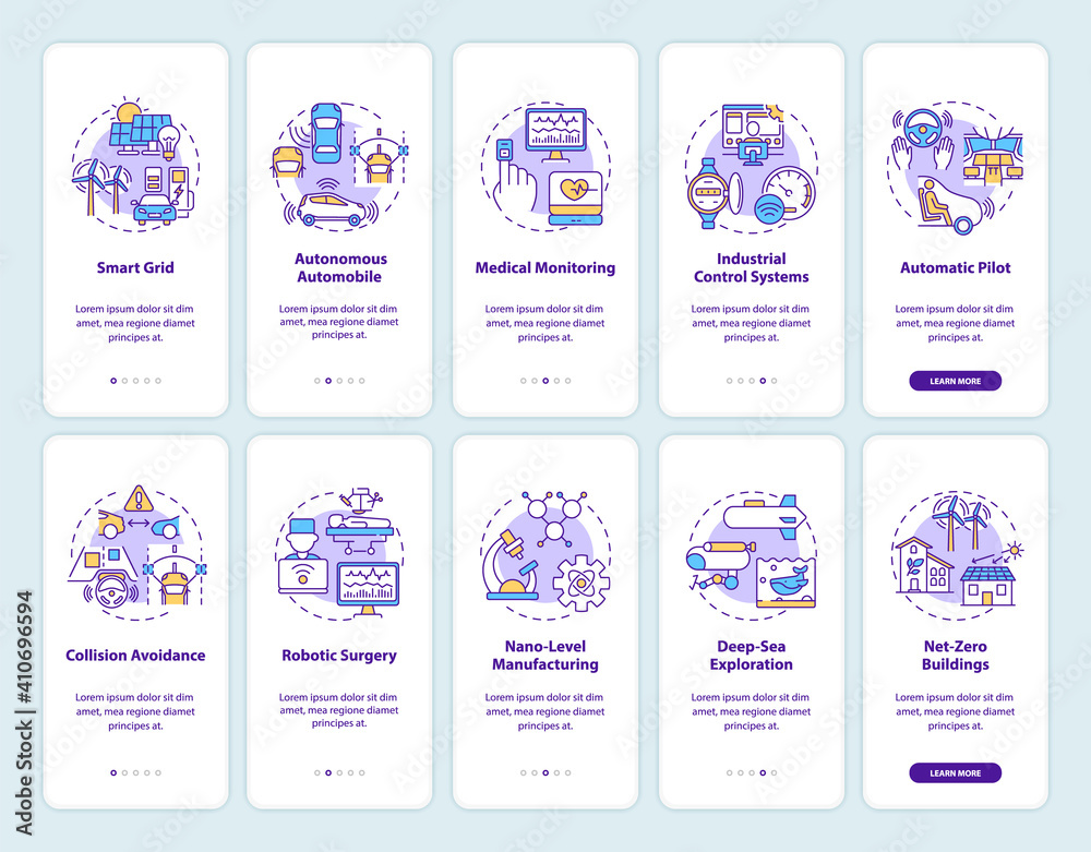 Fototapeta Cyber-physical systems onboarding mobile app page screen with concepts set. Application and usage benefits walkthrough 5 steps graphic instructions. UI vector template with RGB color illustrations