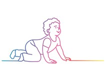 Cute Baby Is Crawling On The Floor. Colorful Line. Vector Illustration.