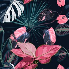 Fashionable Seamless Tropical Pattern With Tropical Blue Pink Leaves On A Black  Background. Beautiful Exotic Plants. Trendy Summer Hawaii Print. Line Stylish Floral.