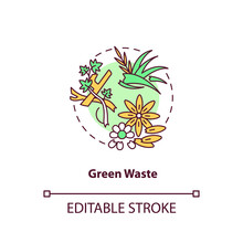 Green Waste Concept Icon. Organic Waste Type Idea Thin Line Illustration. Refuse From Garden. Biological Fertilizer. Grass Clippings, Leaves. Vector Isolated Outline RGB Color Drawing. Editable Stroke