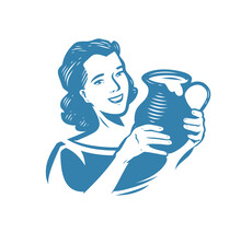 Milkmaid With Jug Of Milk. Dairy Products Symbol Or Logo Vector