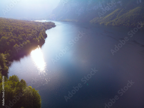 Fotografie, Obraz Breathtaking view of the famous Bohinj lake from above