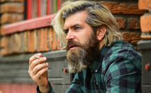 Bad Habits Concept. Harmful For Your Health. Smoke Nicotine Addicted. He Is Heavy Smoker. Bearded Man Relax With Cigarette. Brutal Mature Hipster Smoking Cigarette