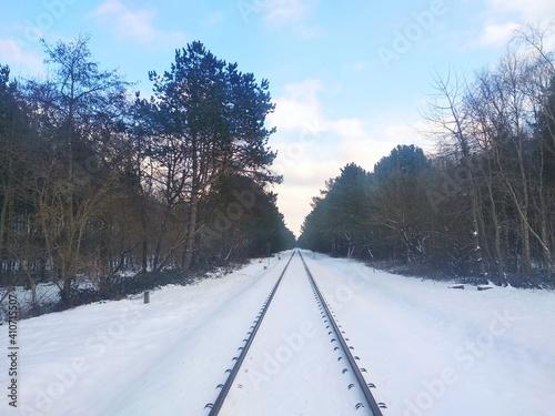 Fototapeta Tory kolejowe zima obraz
