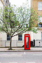 Photo Of London, With A Typical British Symbol - A Red Telephone Box.