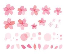 春の桜ベクターセット Cherry Blossom Illustration For Spring