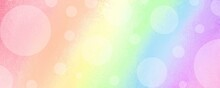 Rainbow Background With Texture And Gradient Colors, Pretty Springtime Banner In Pastel Colors And White Bokeh Lights Or Circle Shapes