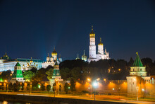 Night Moscow Cityscape With A View Of The Kremlin And The Ivan The Great Bell Tower
