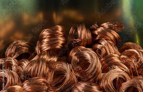 Lerretsbilde Pile of copper wire scrap secondary raw materials industry