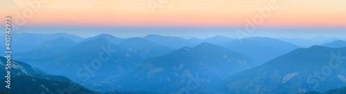 Obraz na plátně Mountain outline on morning sky background