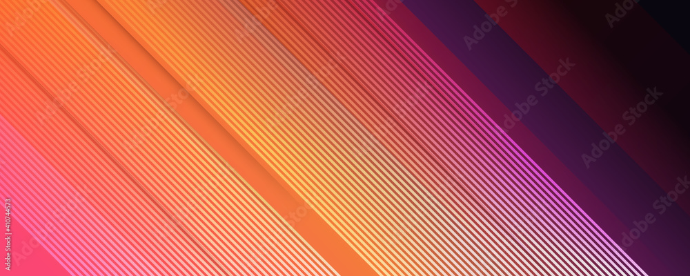 Fototapeta Multicolored tech background, with a geometric 3D structure. Clean, vibrant design with simple, bright, modern forms. 3D render. Blue purple orange yellow lines stripes background