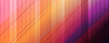Multicolored Tech Background, With A Geometric 3D Structure. Clean, Vibrant Design With Simple, Bright, Modern Forms. 3D Render. Blue Purple Orange Yellow Lines Stripes Background