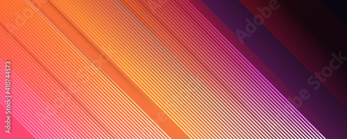 Obraz Multicolored tech background, with a geometric 3D structure. Clean, vibrant design with simple, bright, modern forms. 3D render. Blue purple orange yellow lines stripes background - fototapety do salonu