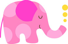 Cute Cartoon Elephant Character With Circle Pattern. Pink Isolated On White Background. Flat Vector Illustration