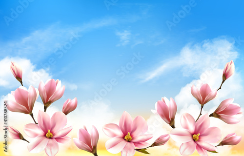 Photographie Nature spring background with beautiful magnolia branches on blue sky