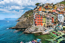 Colorful Houses On Hill By Sea