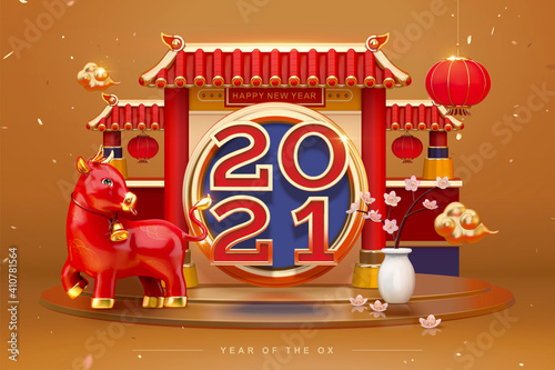 Photo Luxury 3d greeting card for 2021