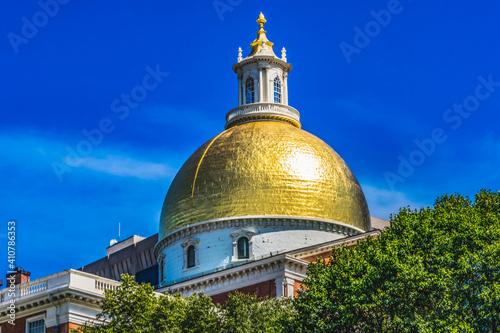 Fotografie, Obraz Golden Dome State Legislature House Boston Massachusetts