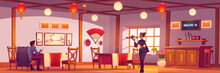 Man And Waitress In Chinese Or Japanese Restaurant. Vector Cartoon Illustration Of Customer And Girl In Kimono With Tea In China Cafe Interior With Wooden Furniture, Red Asian Lanterns And Fan On Wall