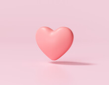 3d Red Heart On Pink Background. Heart Icon, Like And Love 3d Render Illustration