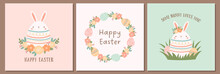 Set Of Easter Cards With Cute Egg Shaped Bunny, Easter Eggs, And Flowers. Easter Backgrounds In Pastel Colors.