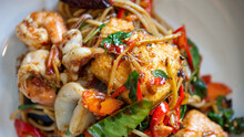 Spaghetti With Spicy Seafood In Platter