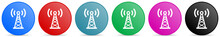 Antenna, Network Vector Icons, Set Of Circle Gradient Buttons In 6 Colors Options For Webdesign And Mobile Applications