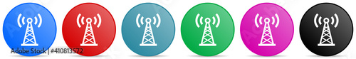 Valokuvatapetti Antenna, network vector icons, set of circle gradient buttons in 6 colors option