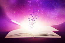 Open Book With Flying Music Notes On Color Background
