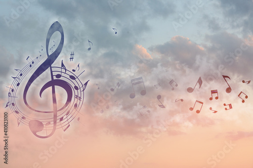 Fototapeta View of beautiful sky with clouds and flying music notes obraz