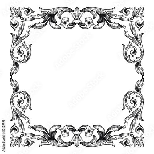 Slika na platnu Vintage Baroque Victorian frame border floral ornament leaf scroll engraved retr