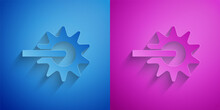 Paper Cut Cowboy Horse Riding Spur For Boot Icon Isolated On Blue And Purple Background. Paper Art Style. Vector.