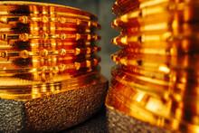 Metal Golden Water Pipe Fitting Piece Macro