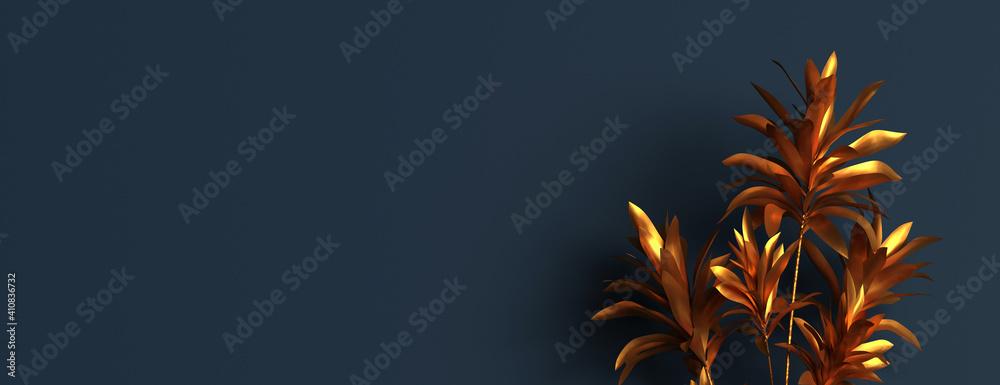 Fototapeta feuillage doré sur fond bleu foncé - rendu 3D